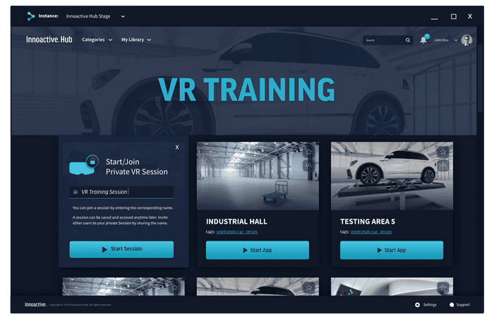 Join a VR training session or create your private session